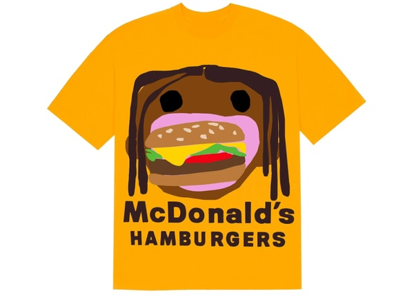 Travis Scott x CPFM 4 CJ Burger Mouth T-Shirt Gold