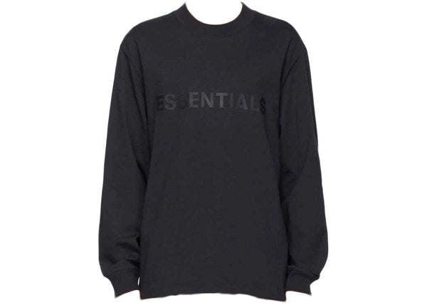 FEAR OF GOD ESSENTIALS x SSENSE 3D Silicon Applique Boxy Long Sleeve T-Shirt Dark Navy
