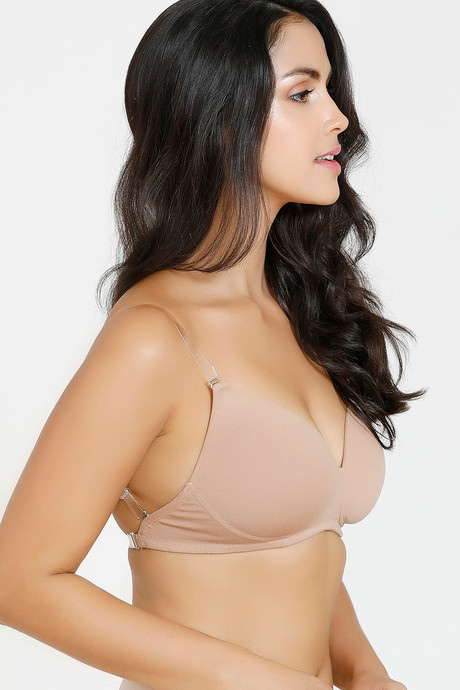 Zivame Rosaline Basics Padded Non Wired 3/4th Coverage Backless Bra - Roebuck | BeeBabe.com