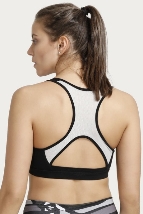 Enamor Medium Impact Keyhole Back Sports Bra- Black | BeeBabe.com