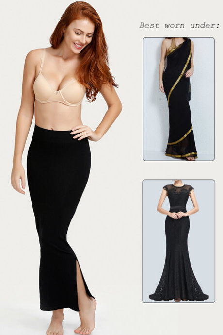 Zivame Medium Control Mermaid Saree Shapewear - Black | BeeBabe.com