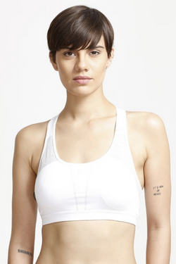 Enamor Medium Impact Keyhole Back Sports Bra- White | BeeBabe.com