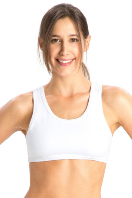 Jockey Cotton Low Impact Sports Bra-White | BeeBabe.com