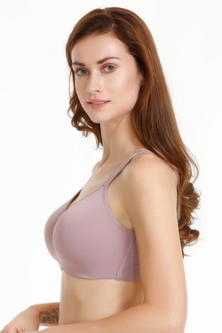 Zivame Padded Non Wired Full Coverage Super Support Bra-Elderberry | BeeBabe.com