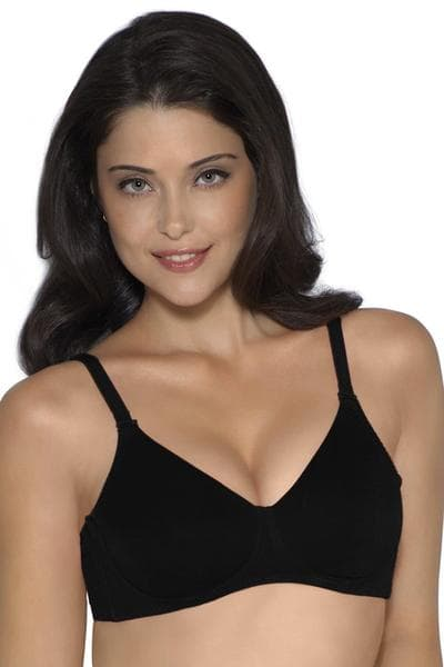 Amante Cool Contour Non-padded Bra With Aloe Finish Black | BeeBabe.com