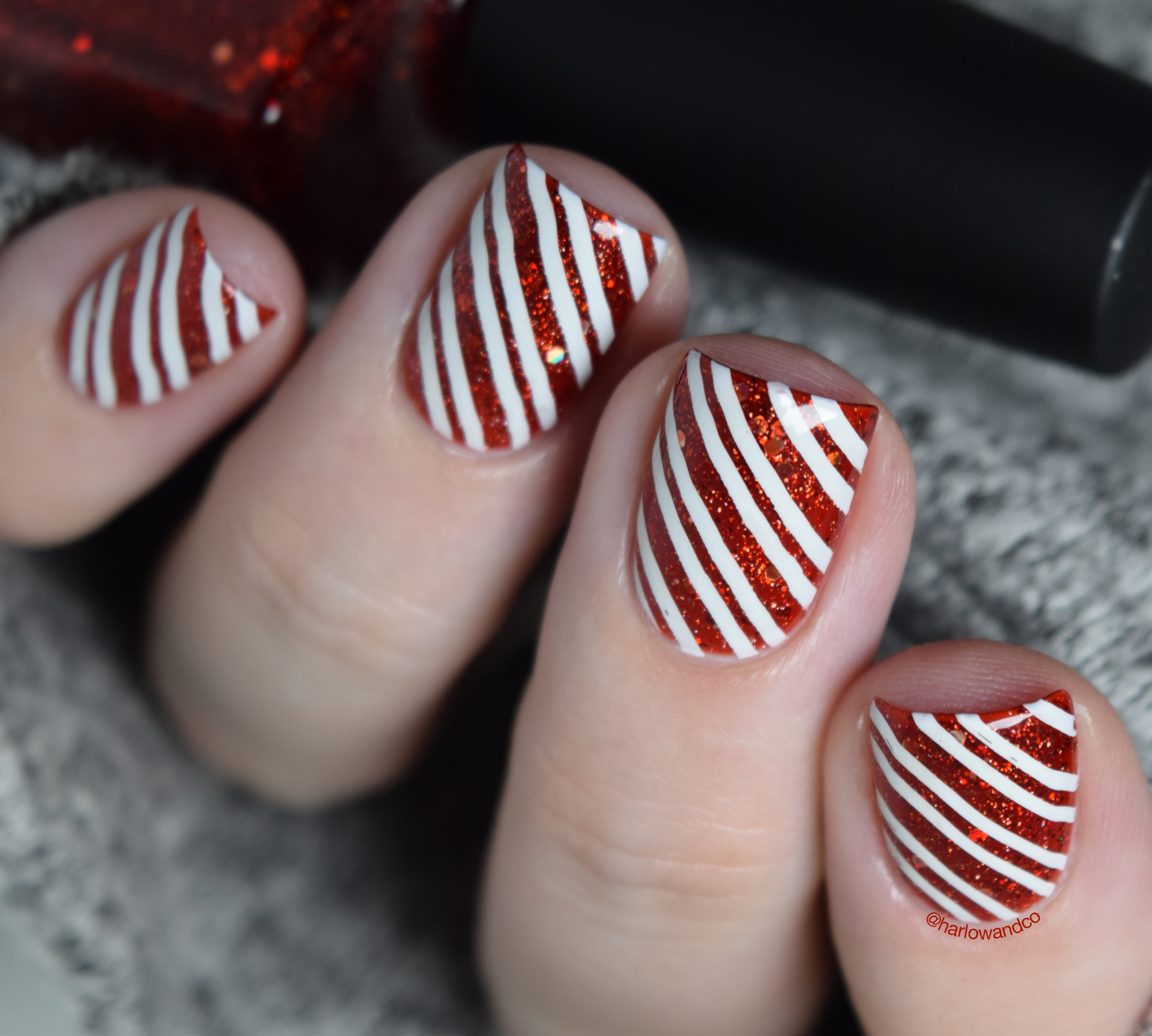 Candy Cane Nail Art Picture Polish Holo Berries Lina Nail Art Supplies