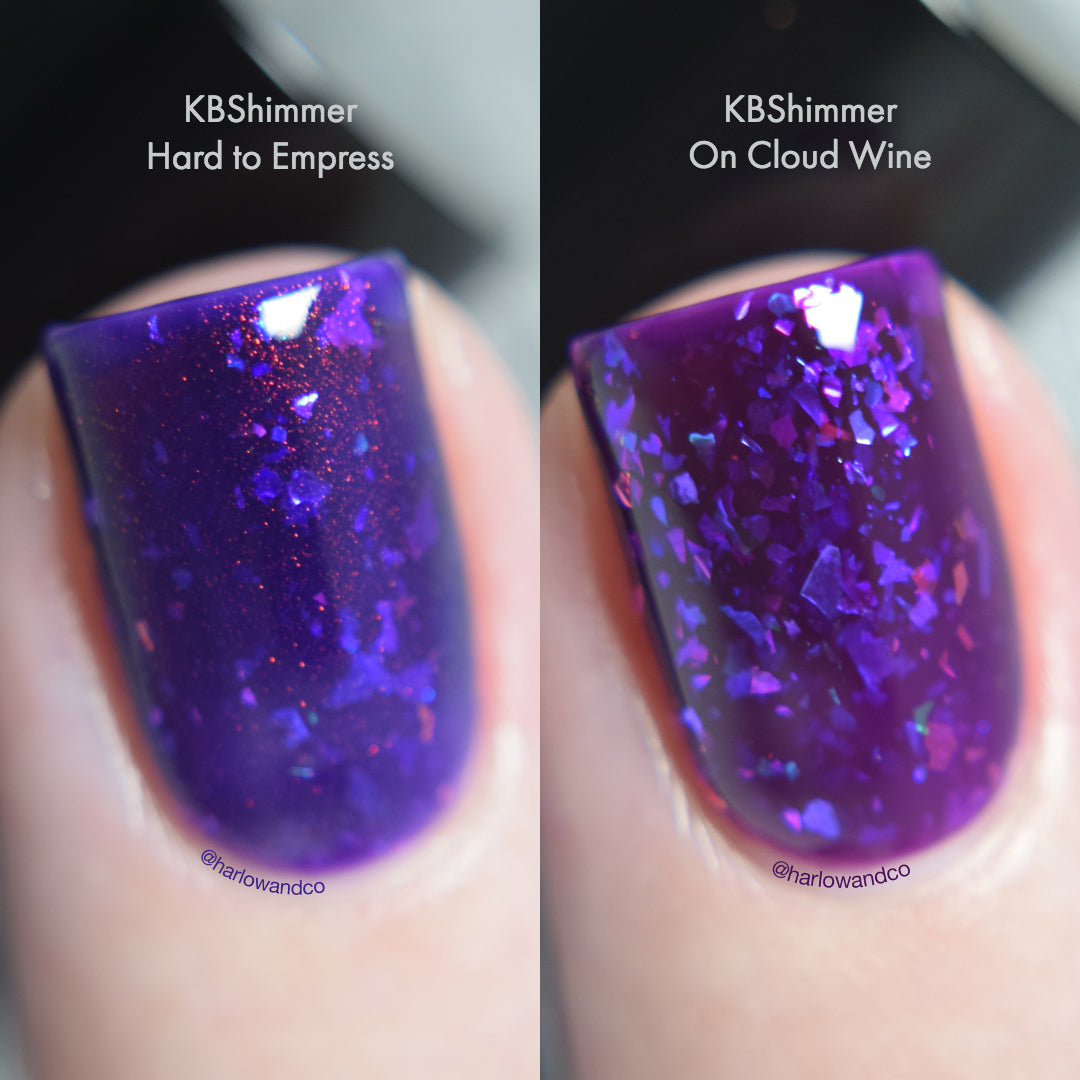 KBShimmer Hard to Empress (LE) compared to KBShimmer On Cloud Wine nail polish