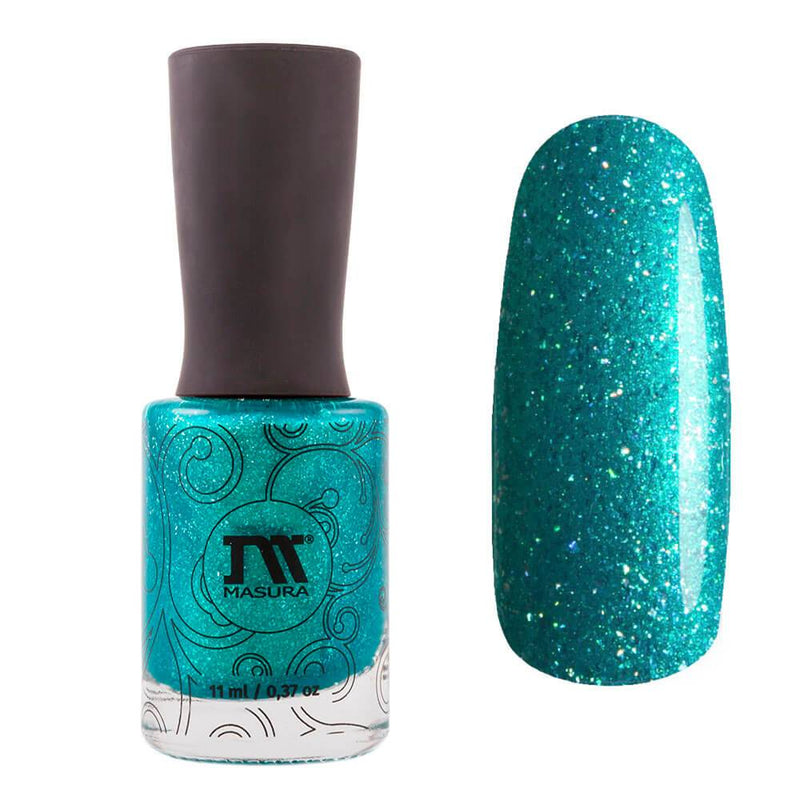Masura Yacht, Sea, Scuba Diving is a sea green nail polish with turquoise shimmer and holographic flakes.