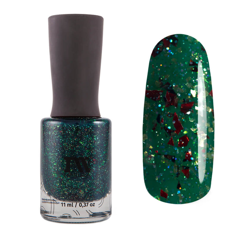 Masura Green's Anatomy green jelly nail polish with red, copper and gold flakies Golden Collection