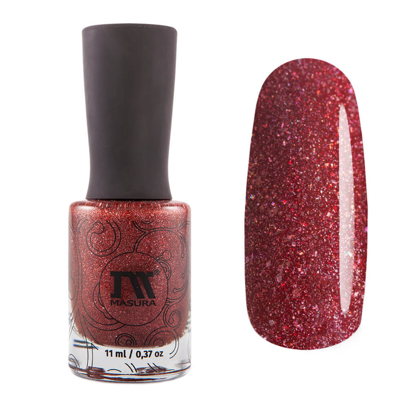 Masura Bewitched By Her Spell warm brownish red holographic nail polish Golden Collection