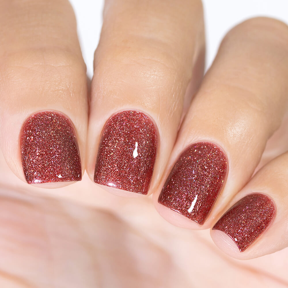 Masura Bewitched By Her Spell warm brownish red holographic nail polish swatch Golden Collection