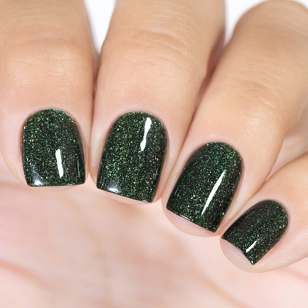 Masura Forest King Bride dark green holographic nail polish swatch Golden Collection