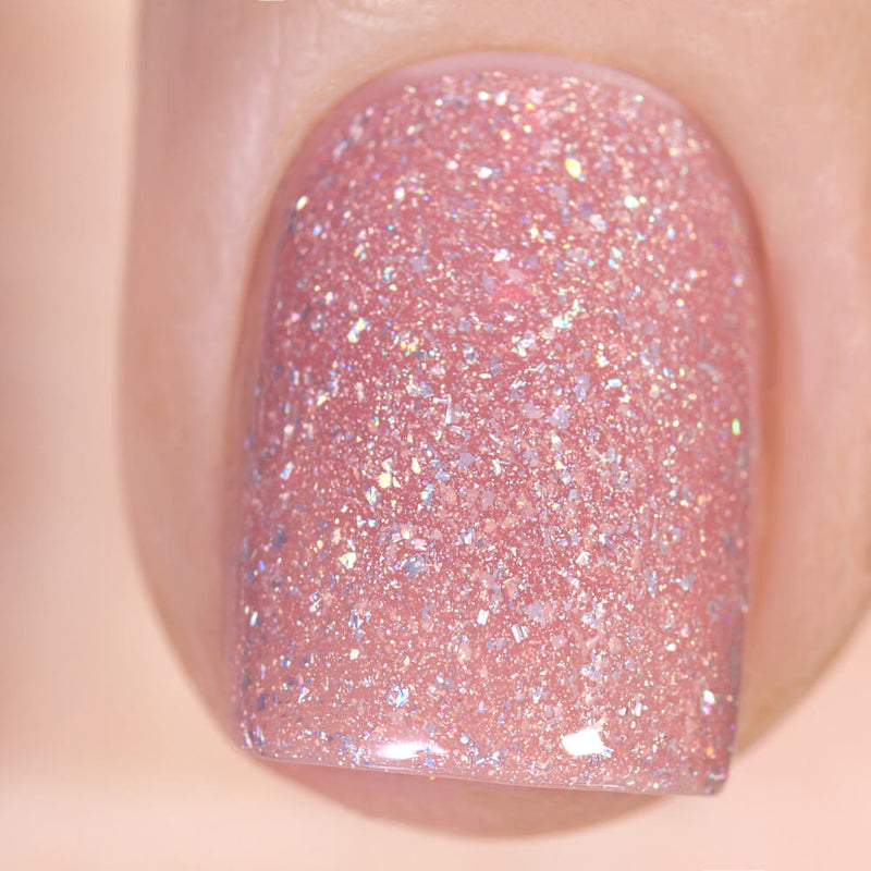 Masura Wishes Come True beige-pink holographic nail polish swatch Winter Holidays Collection