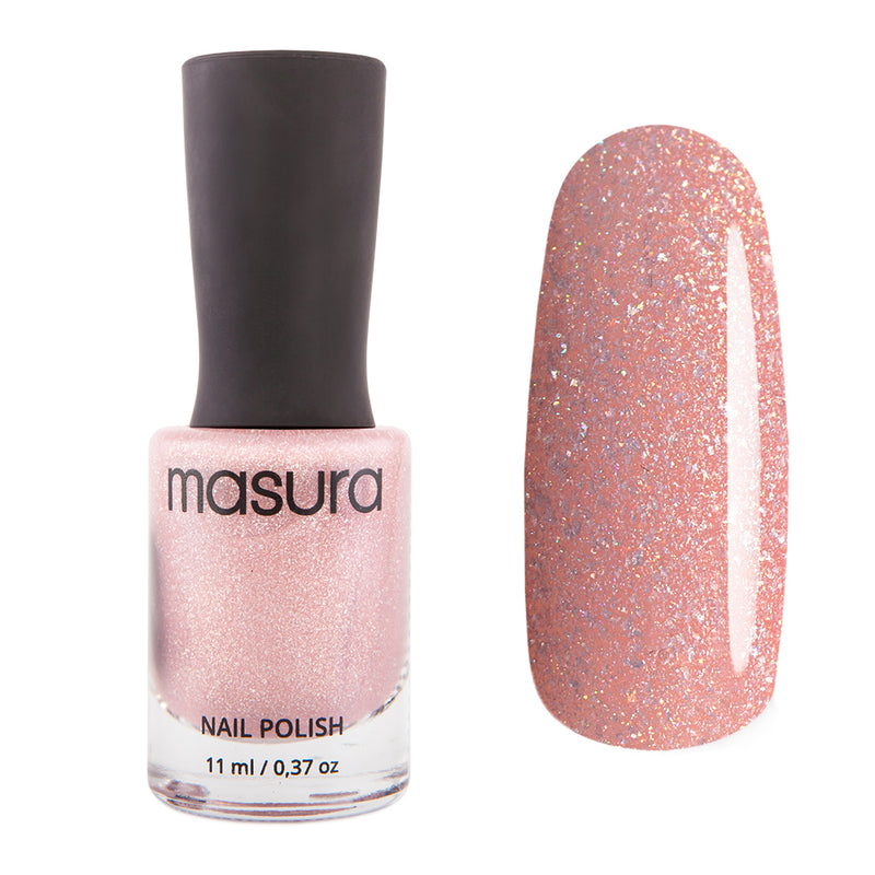 Masura Wishes Come True beige-pink holographic nail polish Winter Holidays Collection