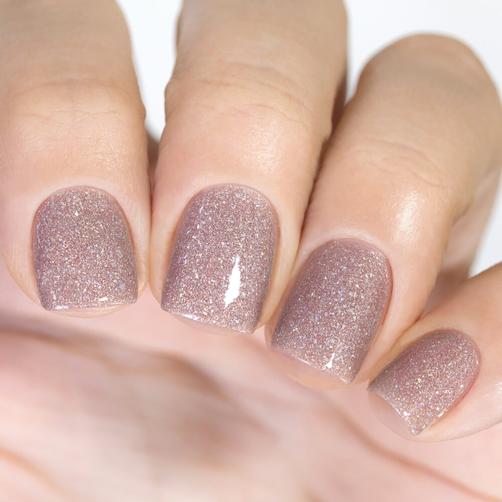 Masura Nude Firework dark beige holographic nail polish swatch Winter Holidays Collection