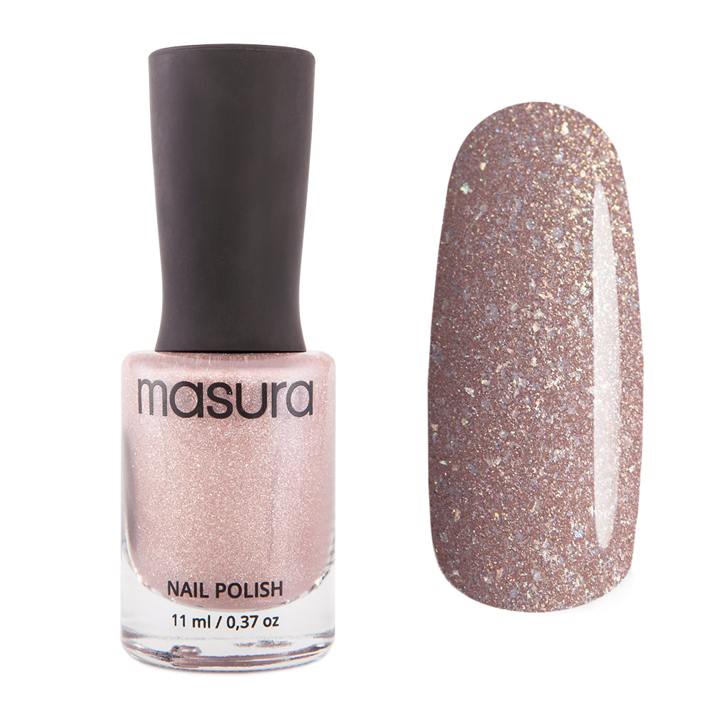 Masura Nude Firework dark beige holographic nail polish Winter Holidays Collection