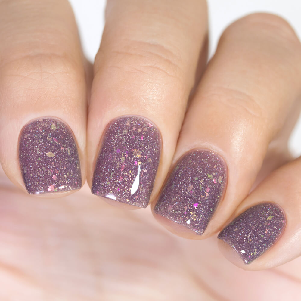 Masura Fluffy Plaid muted grey-purple crelly nail polish swatch Winter Holidays Collection