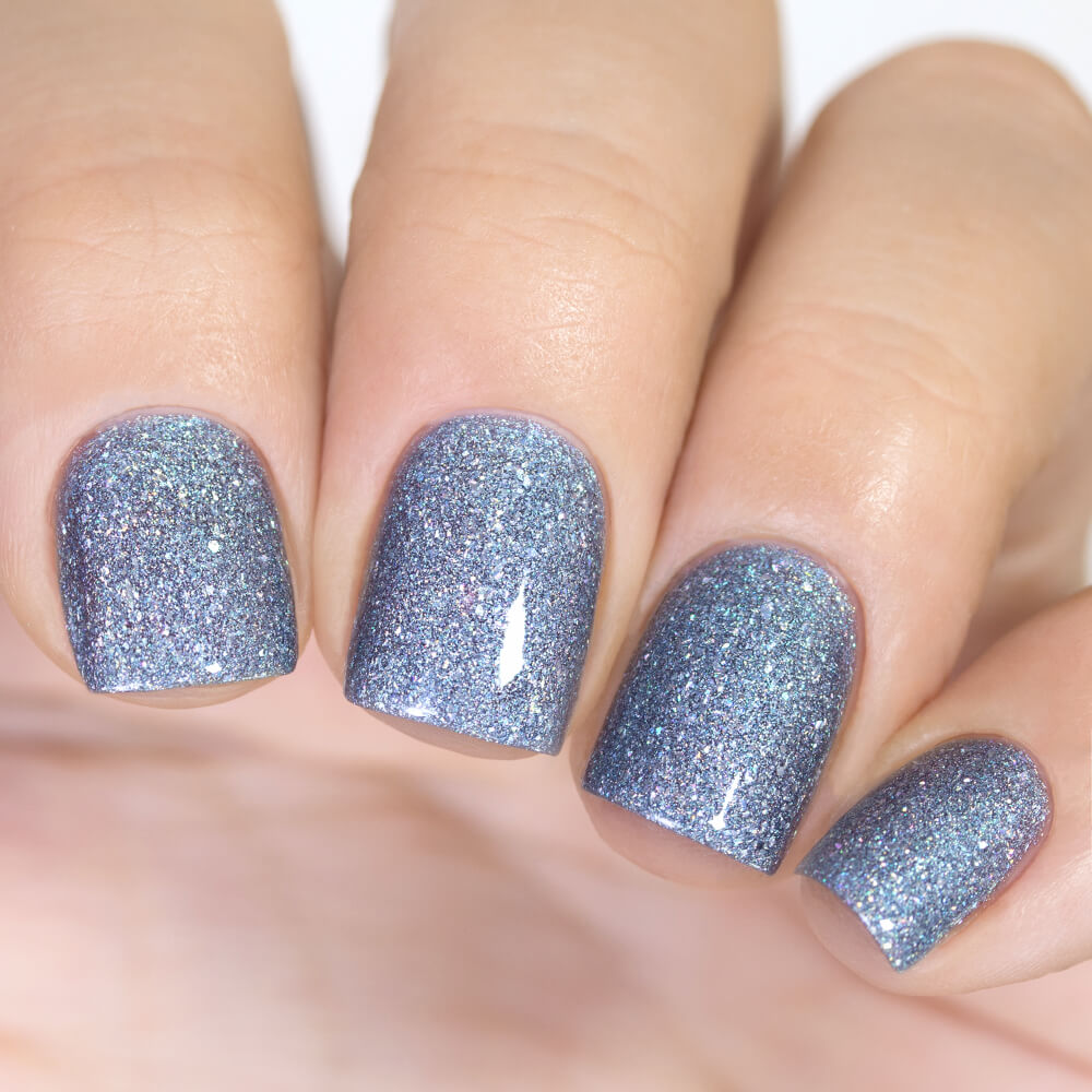 Masura Frosty Sky muted light blue holographic nail polish swatch Winter Holidays Collection