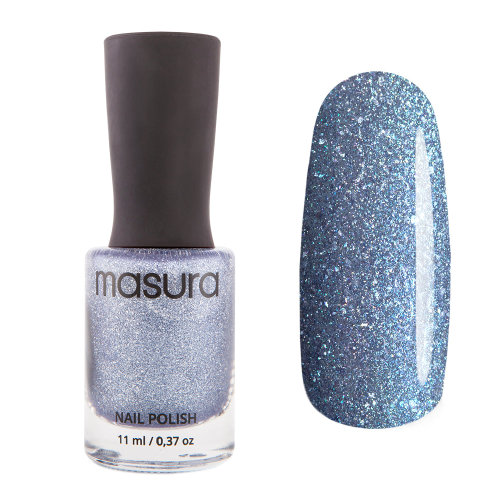 Masura Frosty Sky muted light blue holographic nail polish Winter Holidays Collection