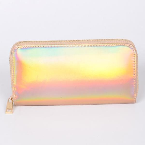 Rose gold holographic wallet Canada