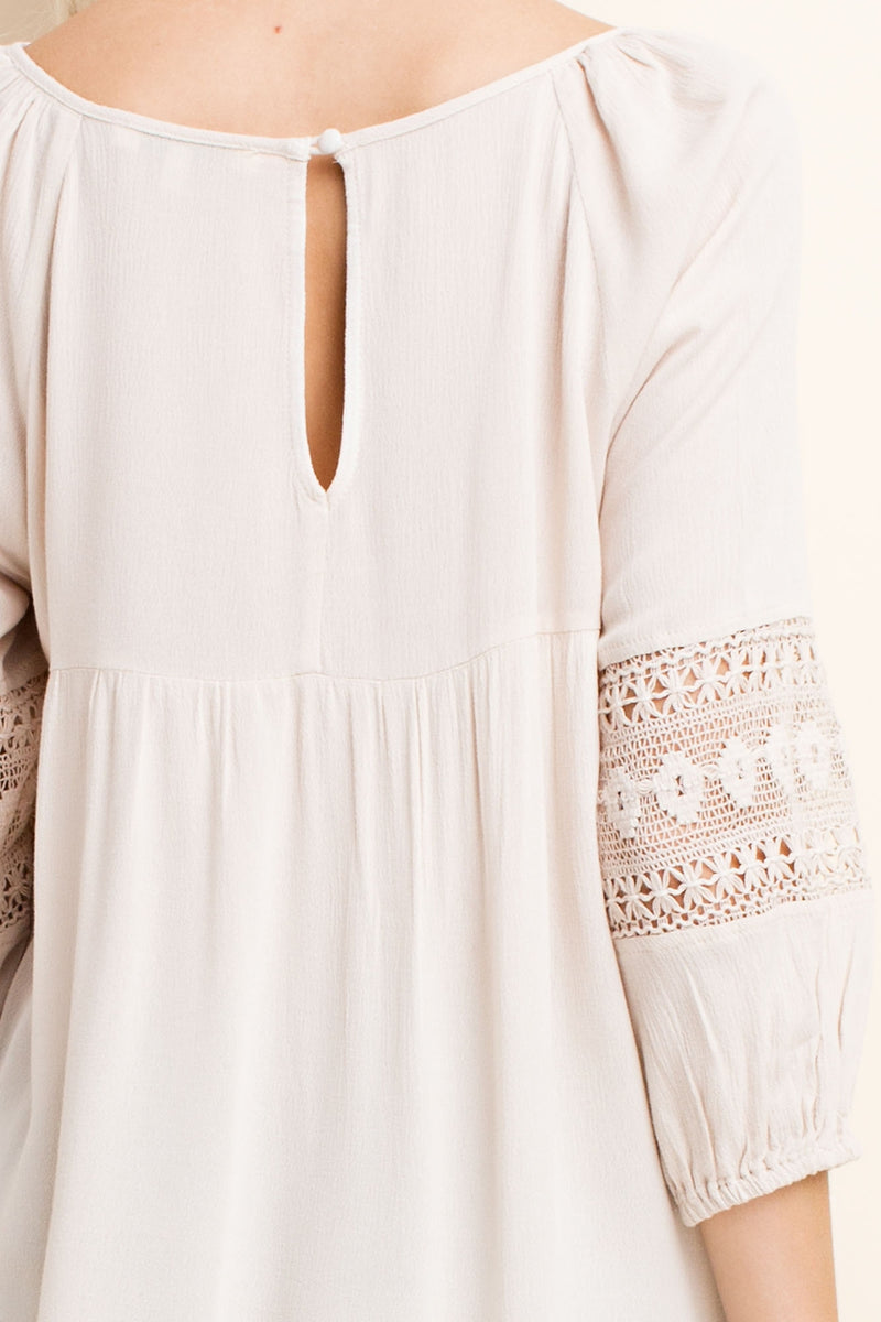 Crochet Detail Peasant Blouse