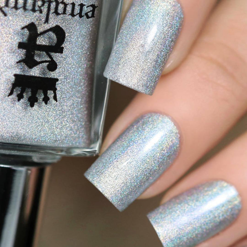 A-England The Heart Desires silver holographic nail polish swatch
