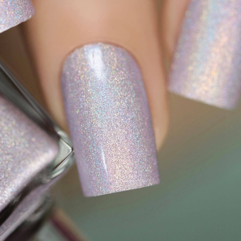 A-England The Soul Attains pale lavender holographic nail polish swatch