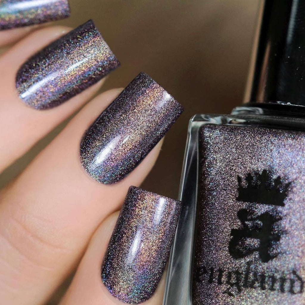 A-England Mrs De Winter neutral-purple holographic nail polish swatch