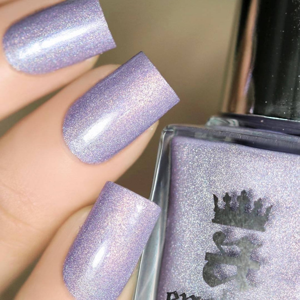 A-England Je Reviens pale lilac holographic nail polish swatch