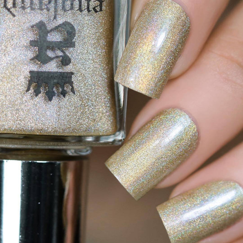 A-England The Hand Refrains pale gold holographic nail polish swatch