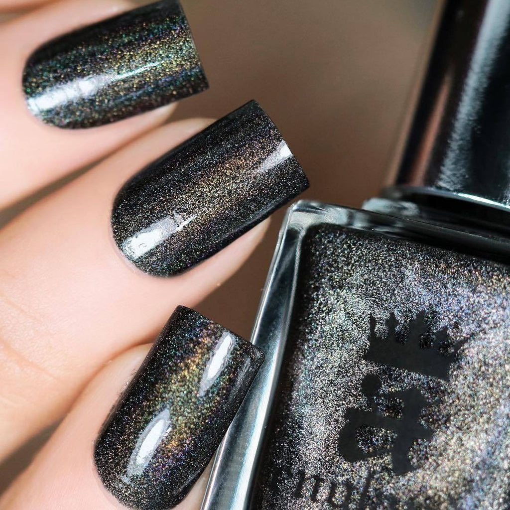 A-England Mrs Danvers black holographic nail polish swatch