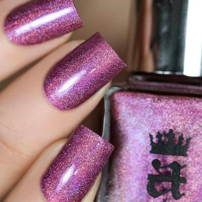 A-England Rebecca dusty magenta holographic nail polish swatch