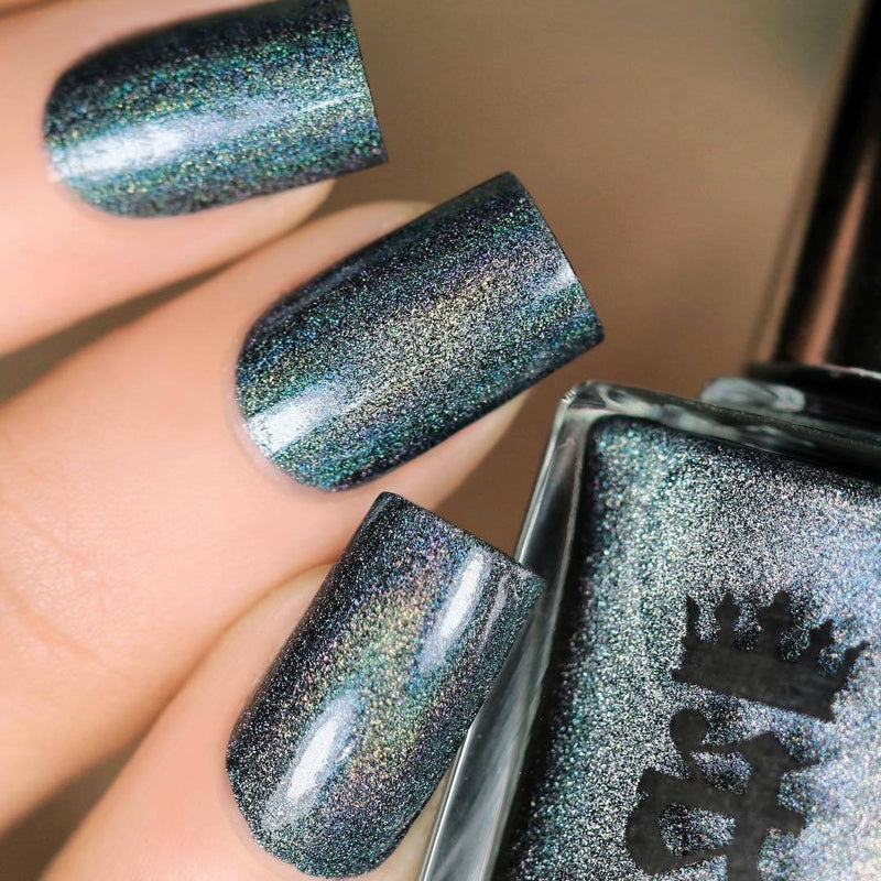 A-England Manderley green-blue holographic nail polish swatch