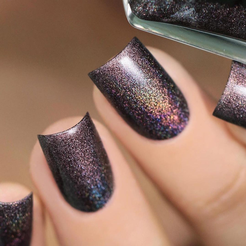 A-England Camden Town terracotta holographic nail polish swatch