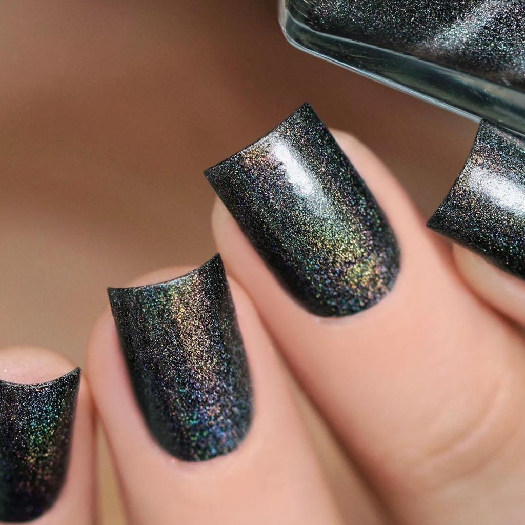 A-England Mod dark army green holographic nail polish swatch