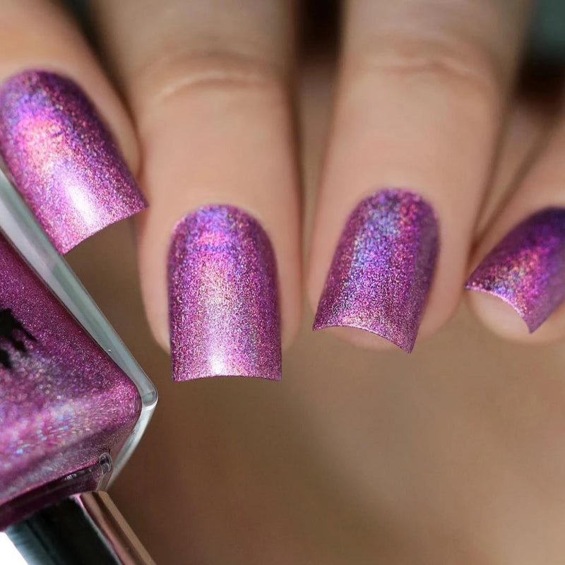 A-England London Calling rose-pink holographic nail polish swatch