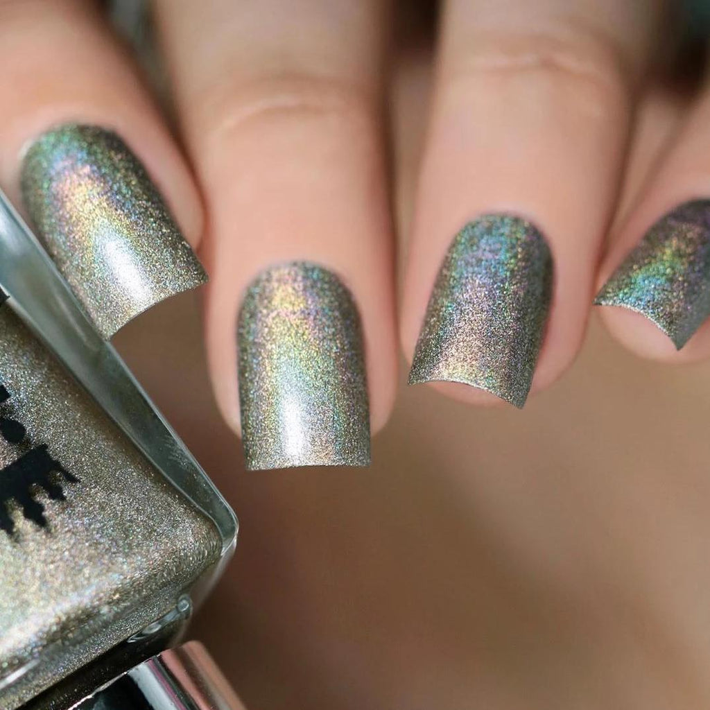 A-England Swinging London pale olive holographic nail polish swatch