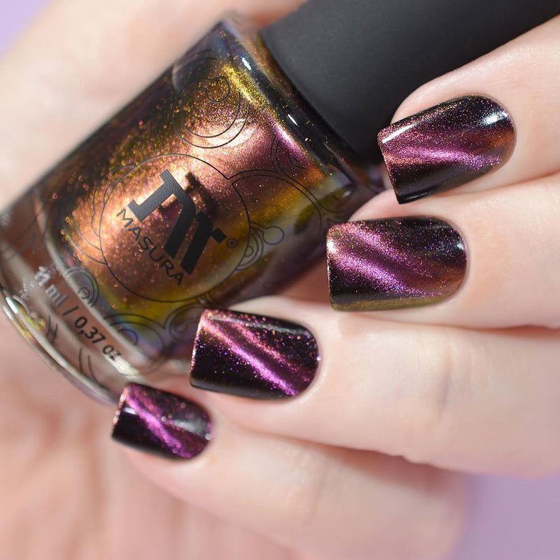 Masura Blooming Rose multichrome magnetic nail polish swatch Precious Stones Collection