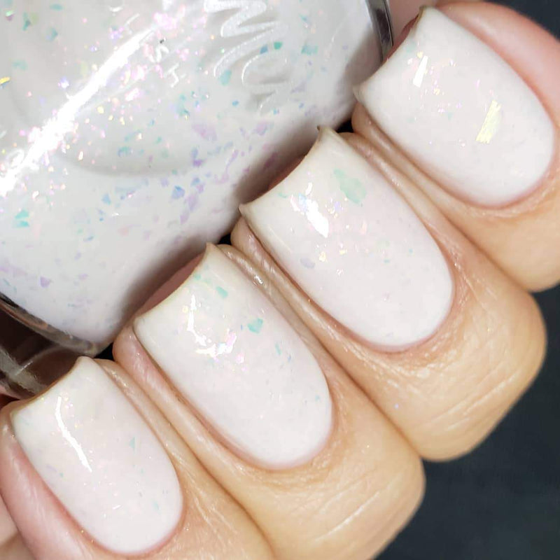 KBShimmer License to Chill sheer white jelly-flakie nail polish