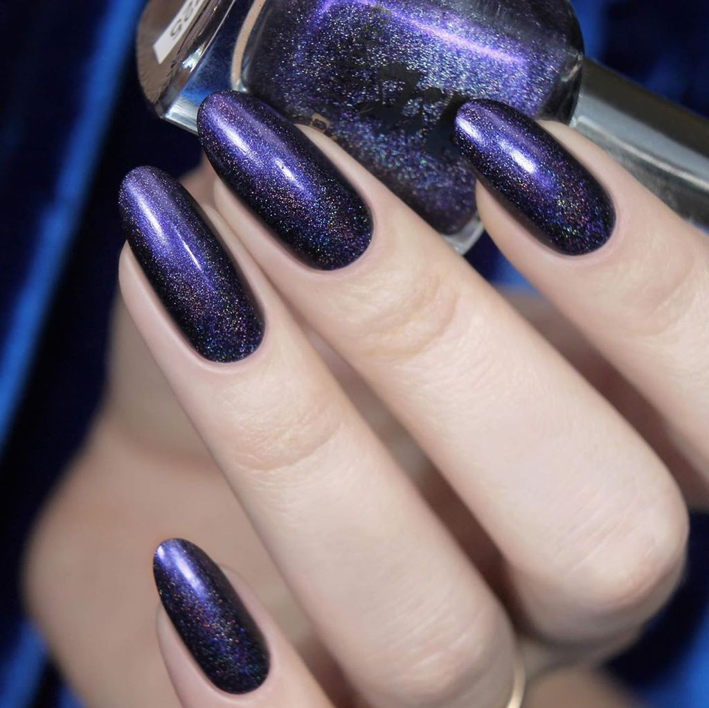 A-England Lenore deep purple holographic nail polish swatch