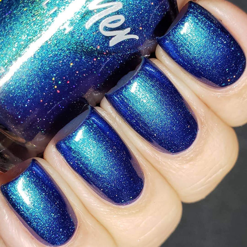 KBShimmer All Downhill From Here indigo-aqua multichrome shimmer nail polish