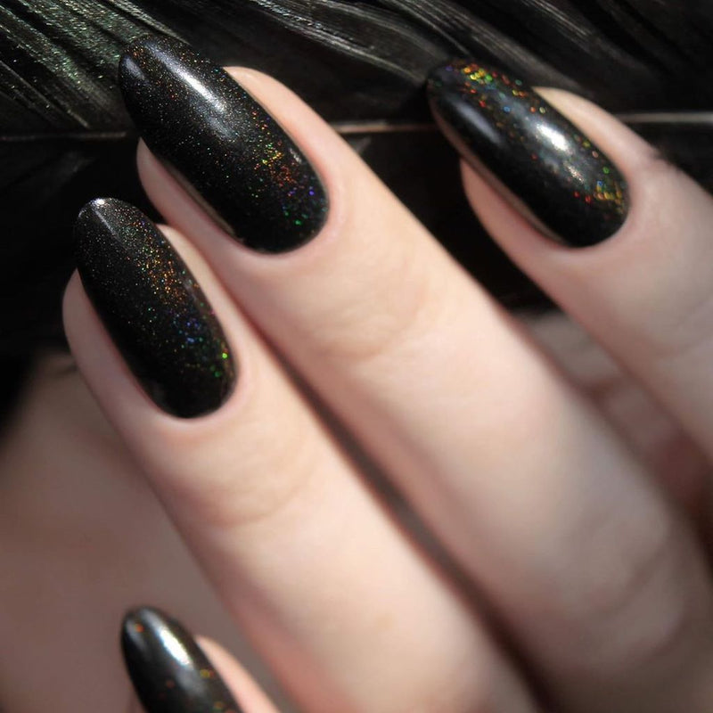 A-England The Raven jet-black holographic nail polish swatch
