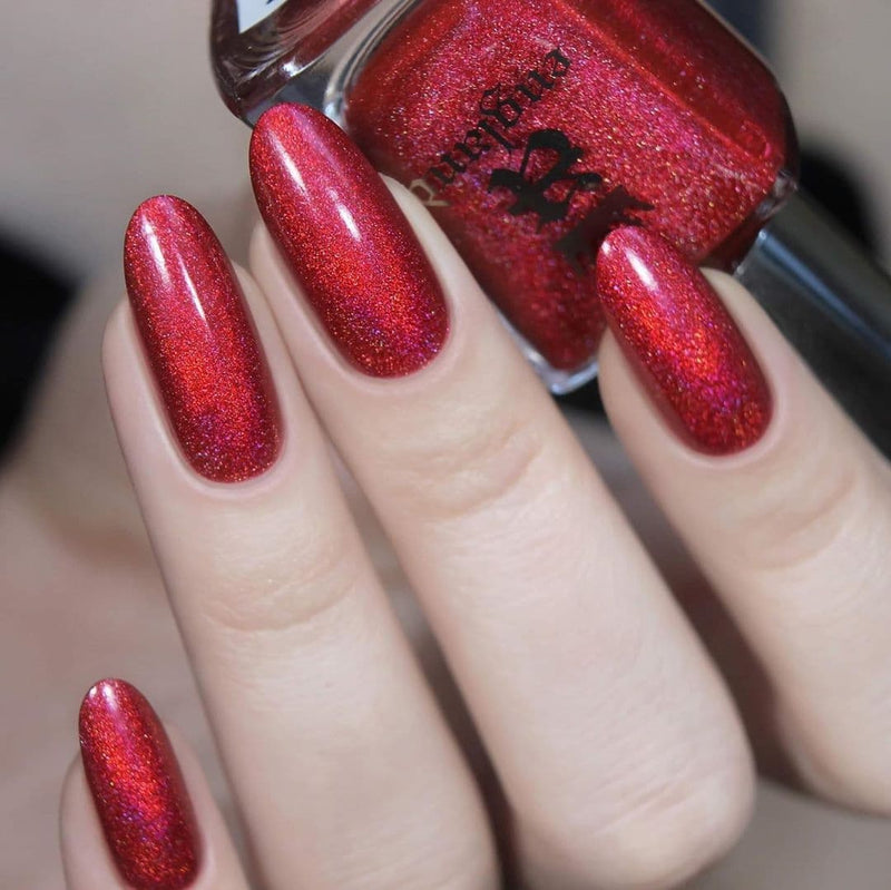 A-England Yeoman Warder poppy red holographic nail polish