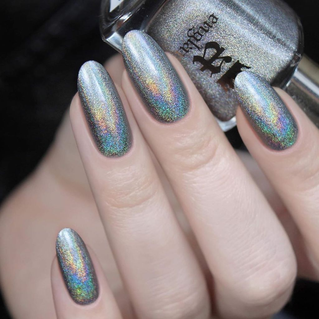 A-England Pallas medium grey holographic nail polish swatch