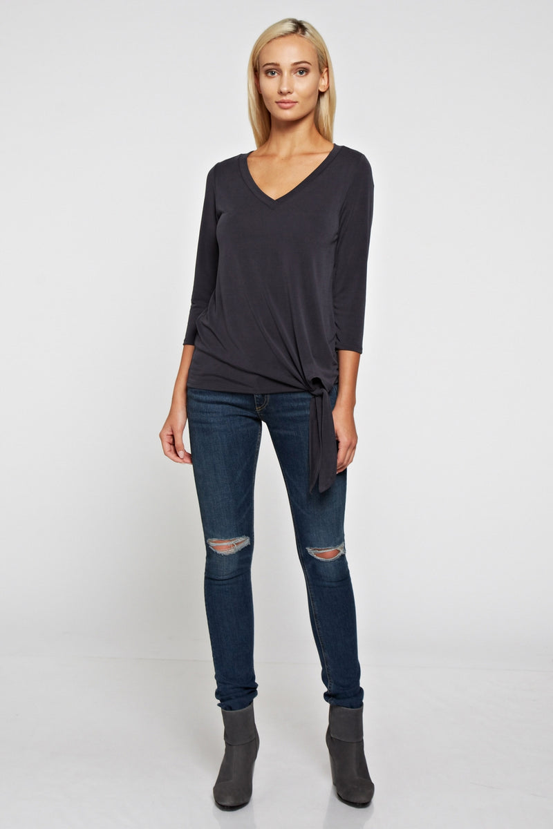 Self Tie V Neck Top
