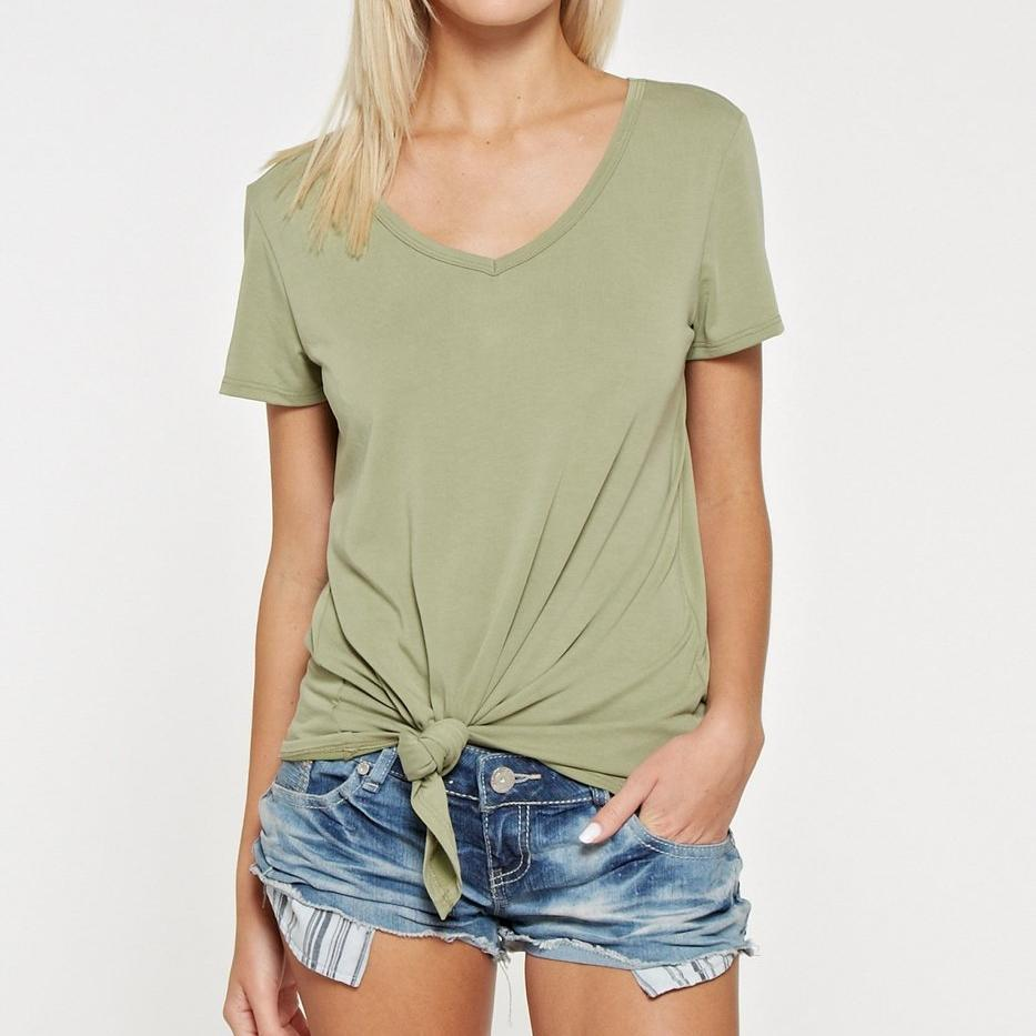Front Knot V Neck Top