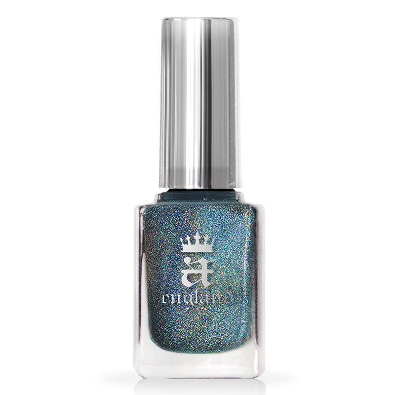 A-England If The Ravens Leave The Tower blue-green teal holographic nail polish