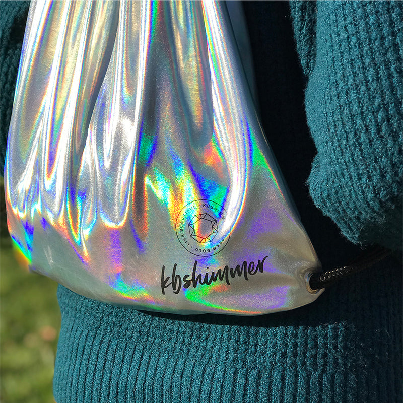 KBShimmer Silver Holographic Drawstring Backpack