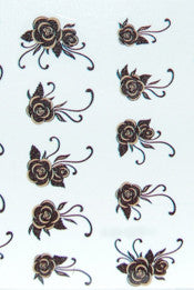 Black & Gold Flower Water Decals