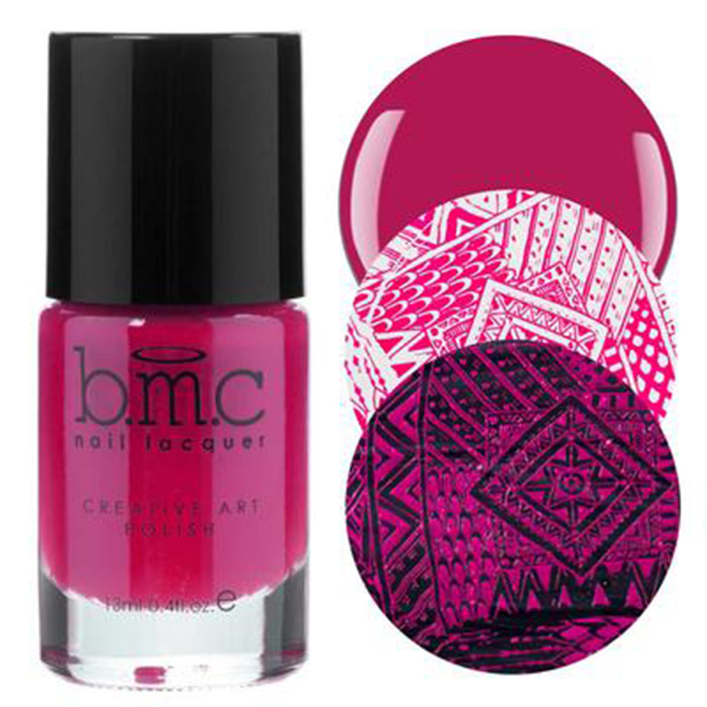 Bundle Monster Fuchsia Flame stamping nail polish